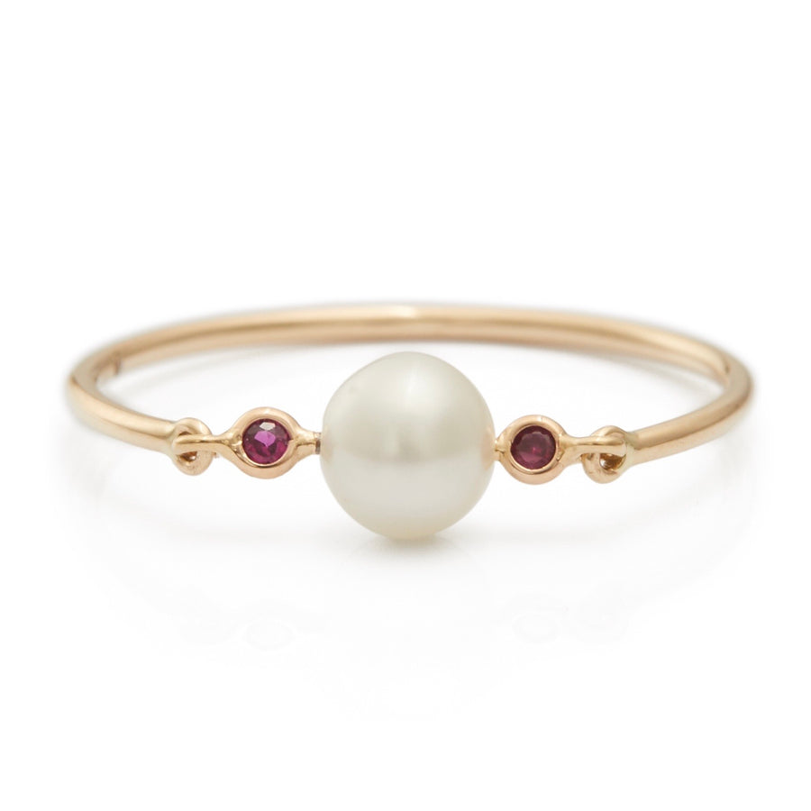 Pearl & Diamond or Ruby Petite Circle Ring