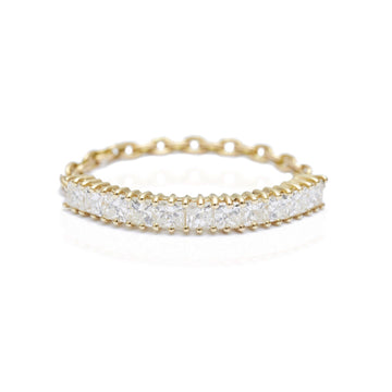 Diamond Princess Bar Chain Ring