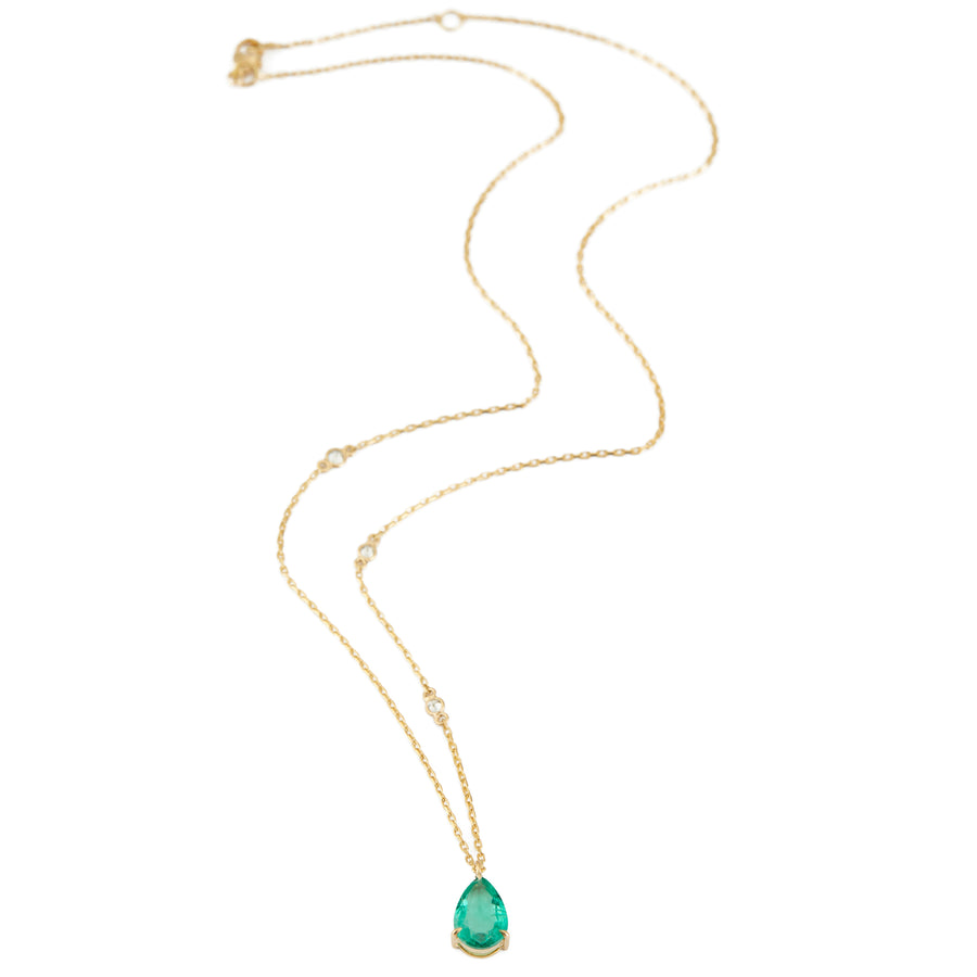 Emerald Dewdrop Pendant with Diamond Necklace