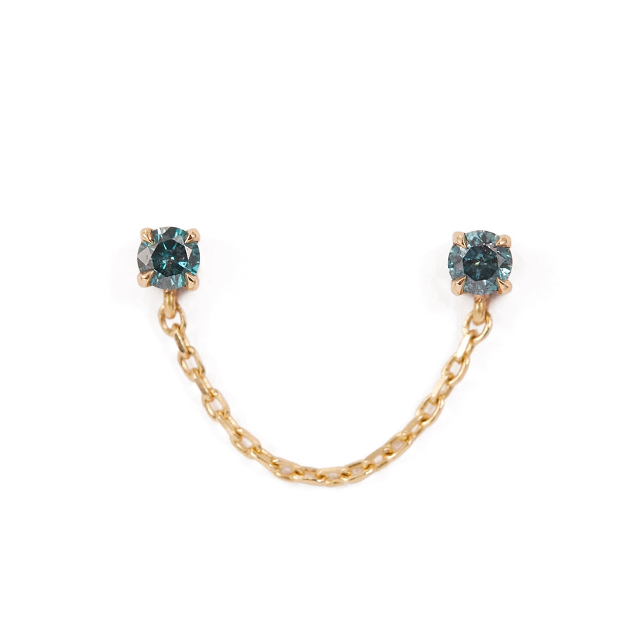 Blue Diamond Linked Chain Earring