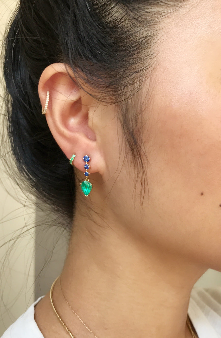 Emerald & Sapphire Arrows Earrings