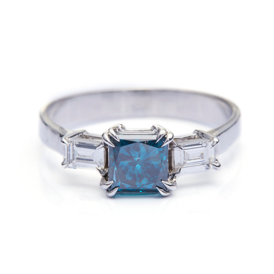 Blue & White Diamond Forever Ring