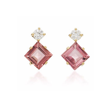 Pink Tourmaline & Diamond Sanya Earrings