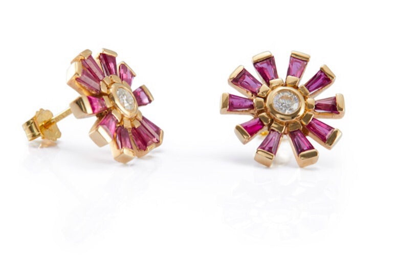 Diamond & Ruby Daisy Earring