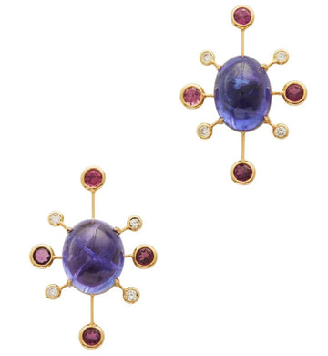 Tanzanite, Tourmaline & Diamond Supernova Earrings