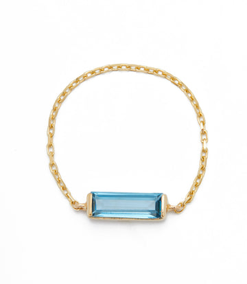 Blue Topaz Baguette Supreme Chain Ring