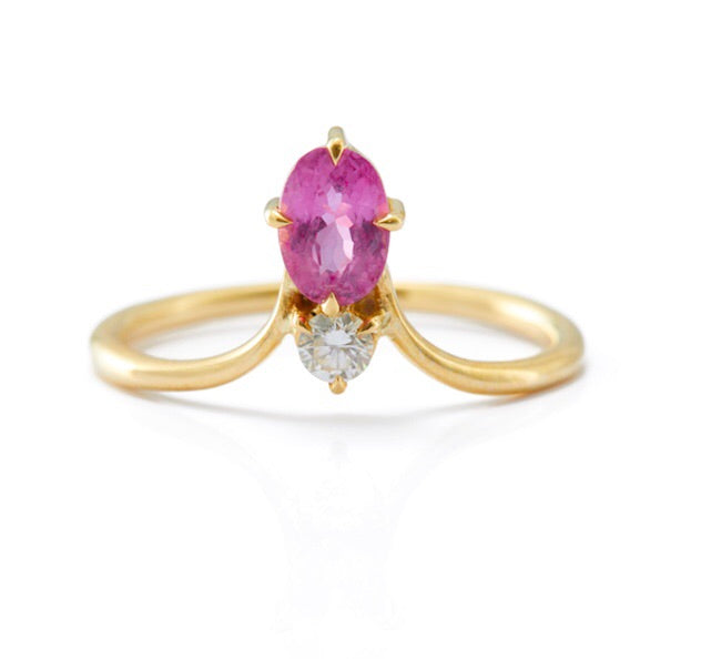 Pink Sapphire & Diamond Crown Ring