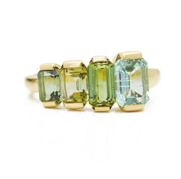 Green & Blue Tourmaline Crescendo Ring