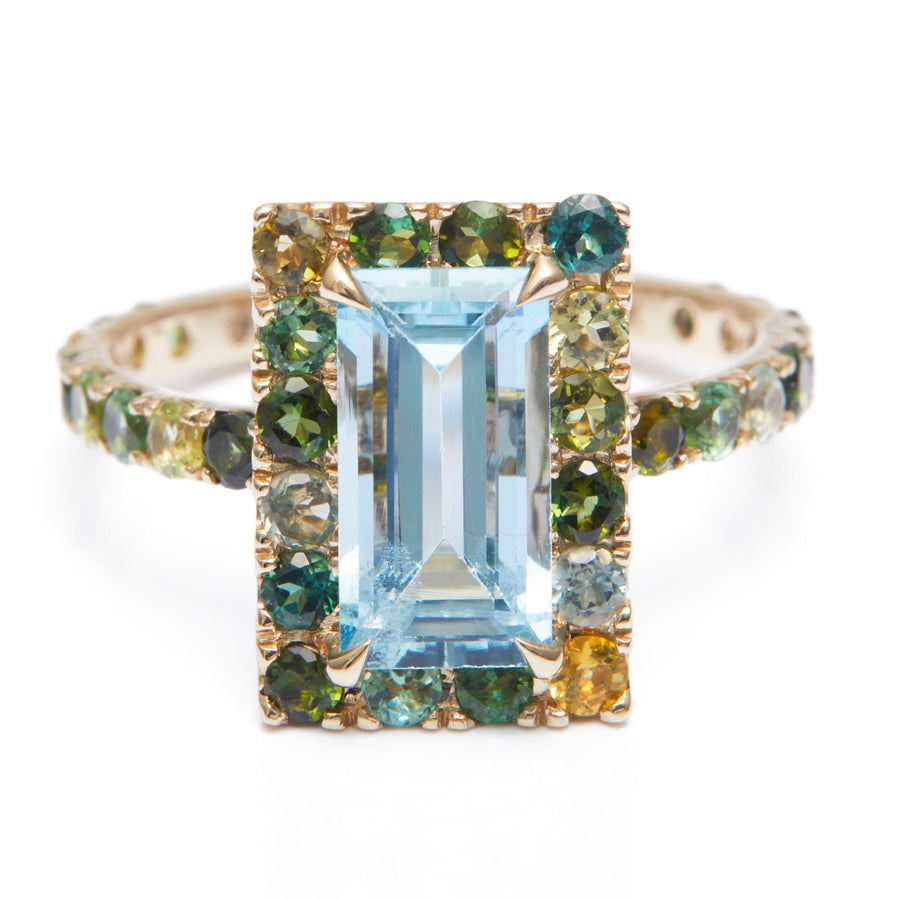 Aquamarine & Multi Green Tourmaline Candy Ring