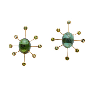 Green Tourmaline Supernova Earrings
