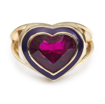 Rubellite & Purple Enamel Love Ring