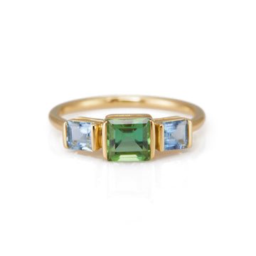 Green Tourmaline & Aquamarine Triplet Ring