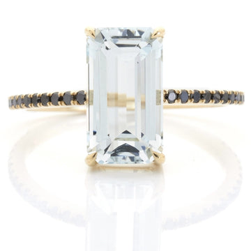 Aquamarine & Black Diamond Ring