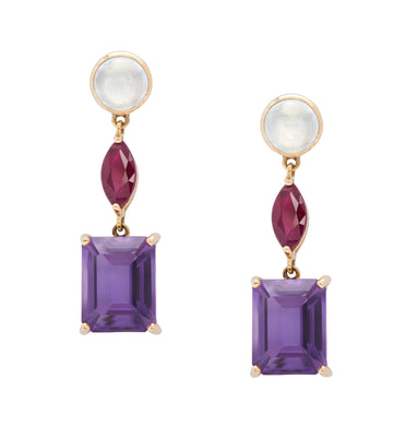 Topaz Ruby Amethyst Beijing Nights Earrings