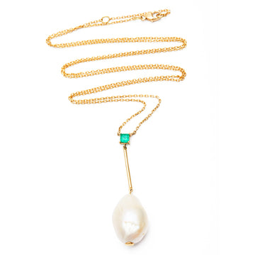 BAROQUE PEARL & EMERALD LONG PENDANT NECKLACE