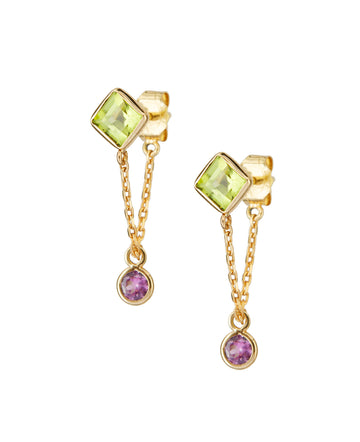 Peridot & Pink Sapphire chain Earrings