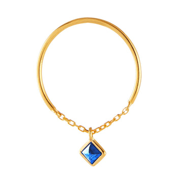 Yi Collection x Opening Ceremony September Sapphire Ring: Silver with 14k gold plating