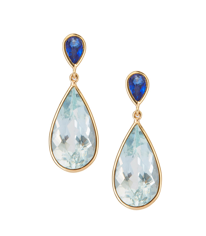 Sapphire & Aquamarine pear shaped earrings