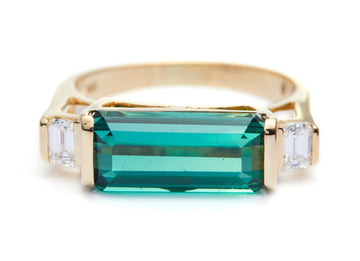 Green Tourmaline & Diamond East West Ring