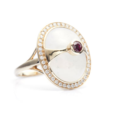 White Jade, Ruby & Diamond Eos Ring