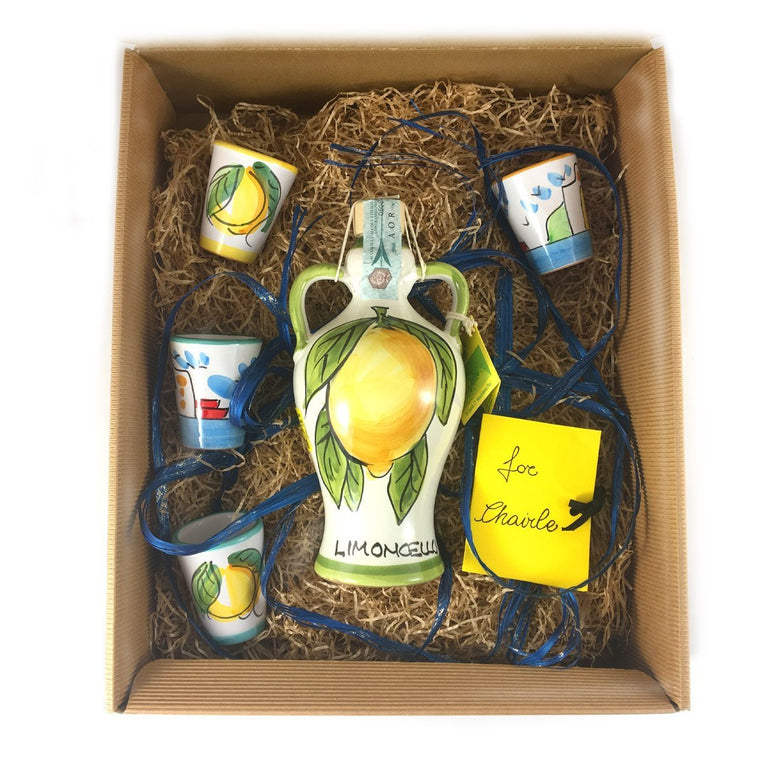 Gift: Limoncello of Sorrento IGP & Four Ceramic Glass HandMade - PepeGusto