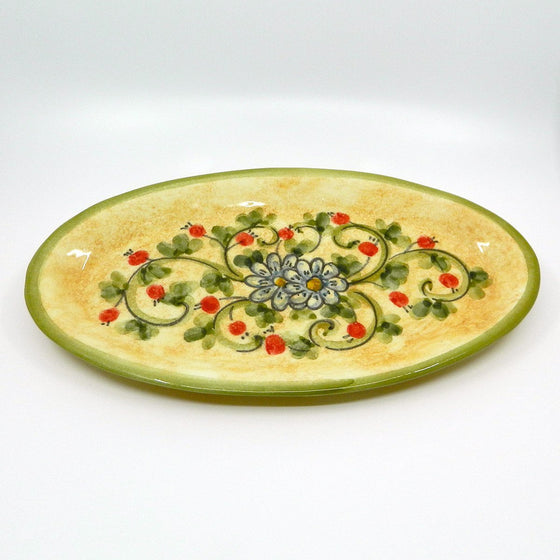 Handmade ceramic oval tray flowers - Ceramic of Gubbio - PepeGusto