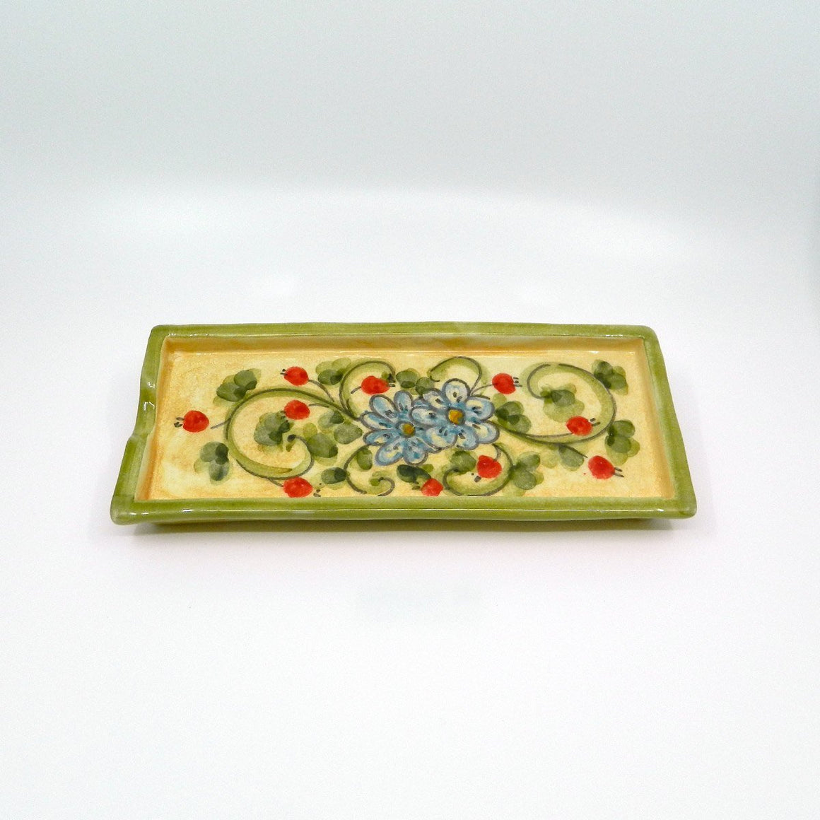 Handmade ceramic tray flowers blue - Ceramic of Gubbio - PepeGusto
