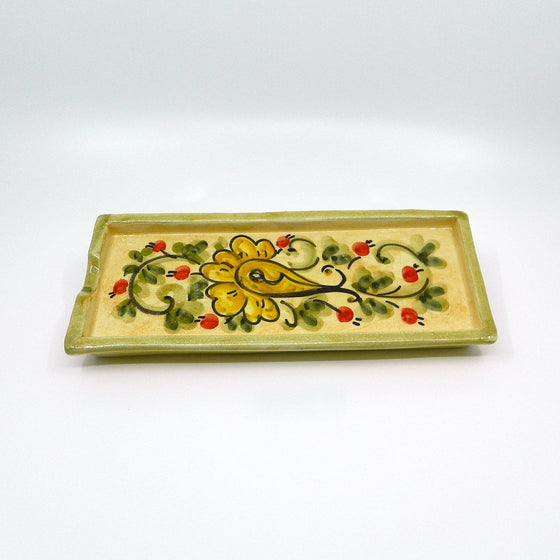 Handmade ceramic tray flowers - Ceramic of Gubbio - PepeGusto