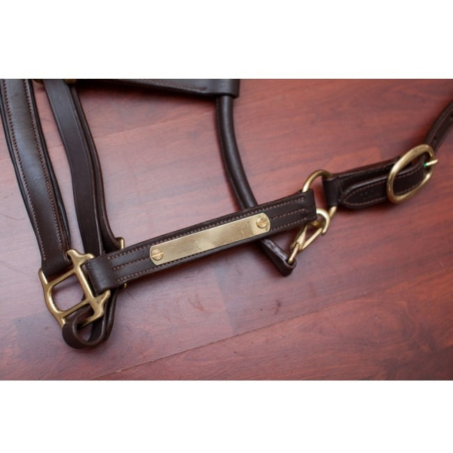 Leather Halter With Nameplate - Brown