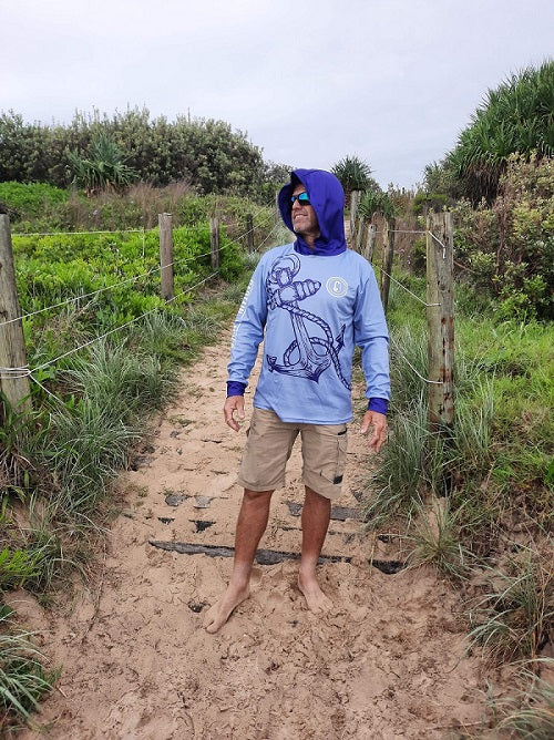 Outdoor Adventure / Fishing Shirt - GREY HOOK & ANCHOR HOODIE
