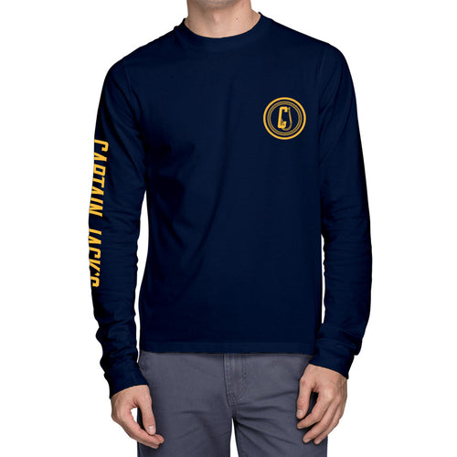 Kids ANCHORED Long Sleeve Navy Tee
