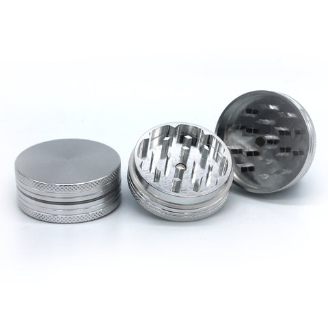 2 Layer CNC Cut Silver Aluminium Grinder Muller 40mm