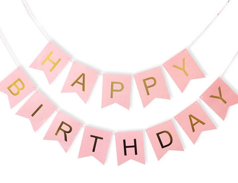 happy birthday bunting with gold foiled letters in fish tail cut design 16cm by 12cm