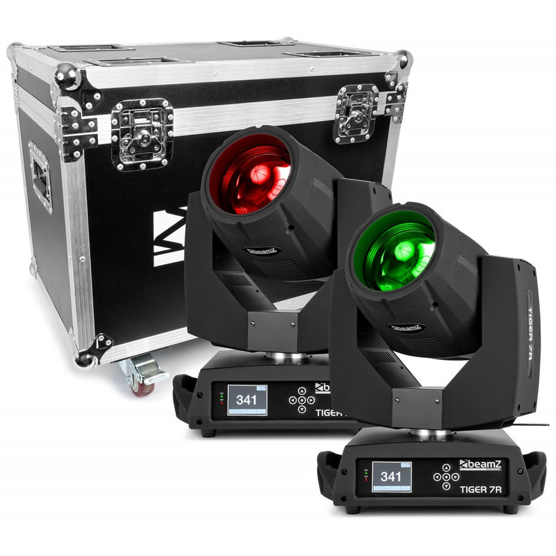 BEAMZBEAMZ TIGER E 7R MOVING HEAD SPOT 2PC IN CASE - Harry Green Music World - Buy online
