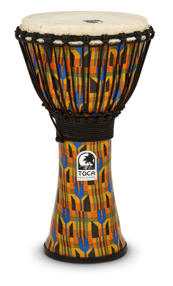 TOCA FREESTYLE ROPE TUNED DJEMBE, KENTE CLOTH