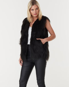 WINDSOR FAUX FUR VEST - BLACK