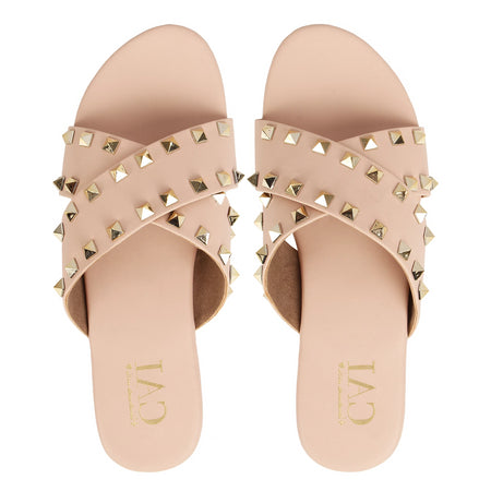 Studded Slides Rose Gold