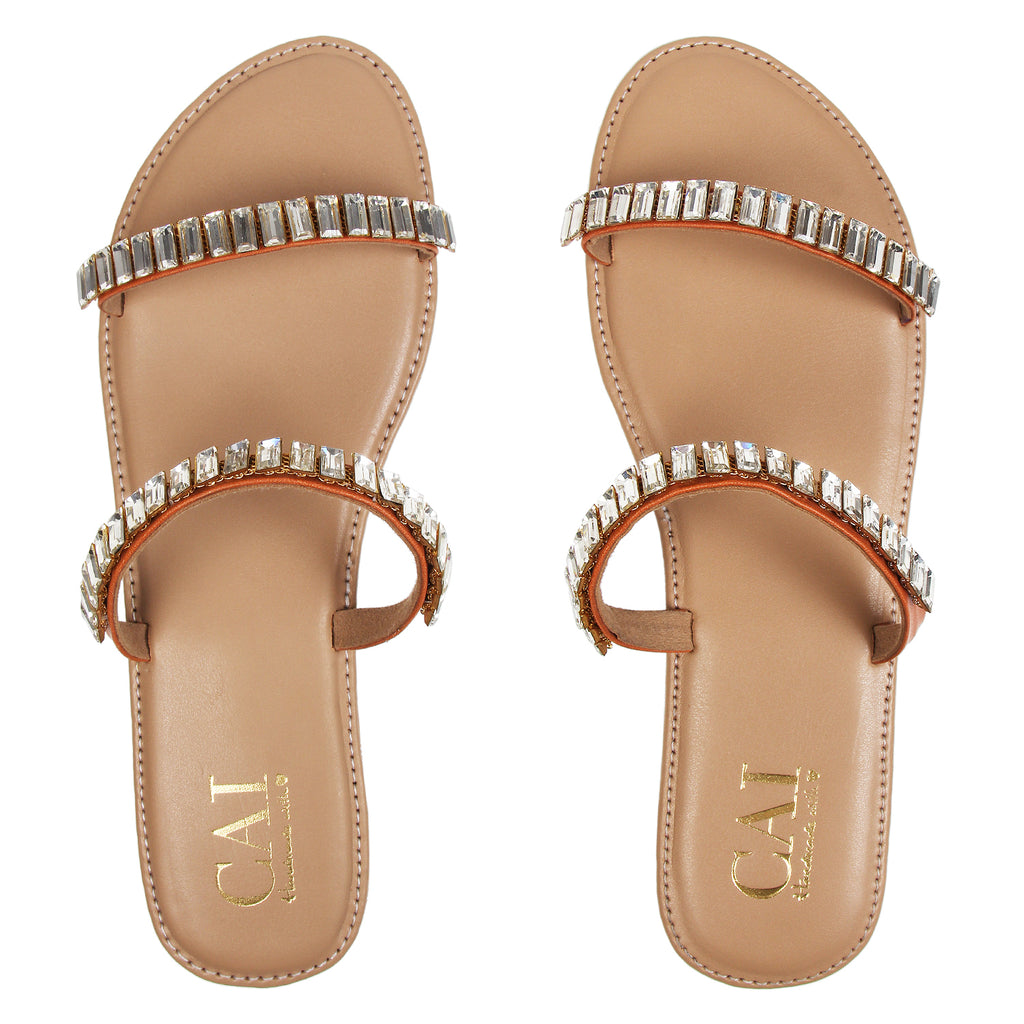 Two strap Embellished  - Tan