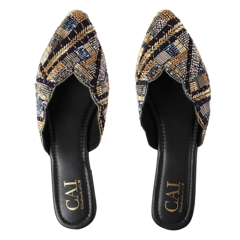 Royal Beaded Mules