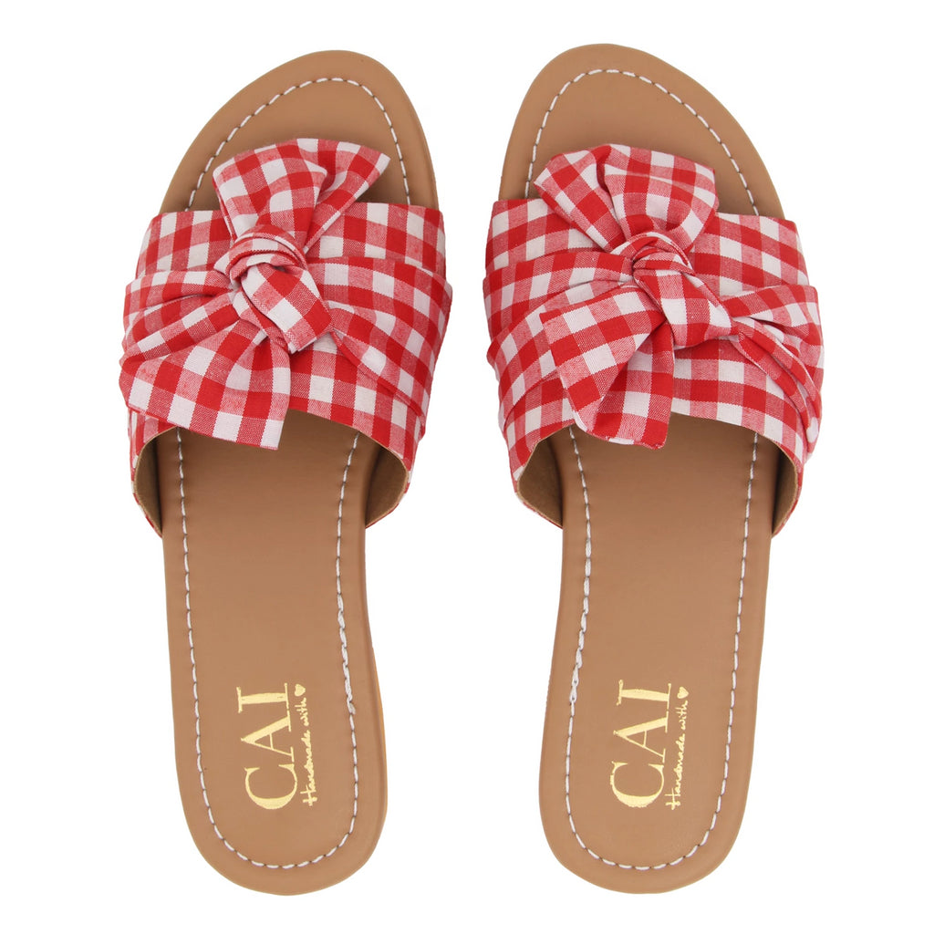 Knotted Gingham Red