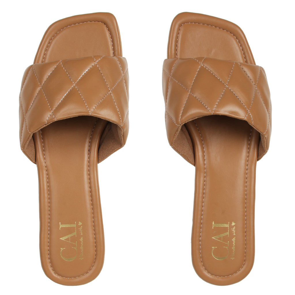 Tan Quilted Slides