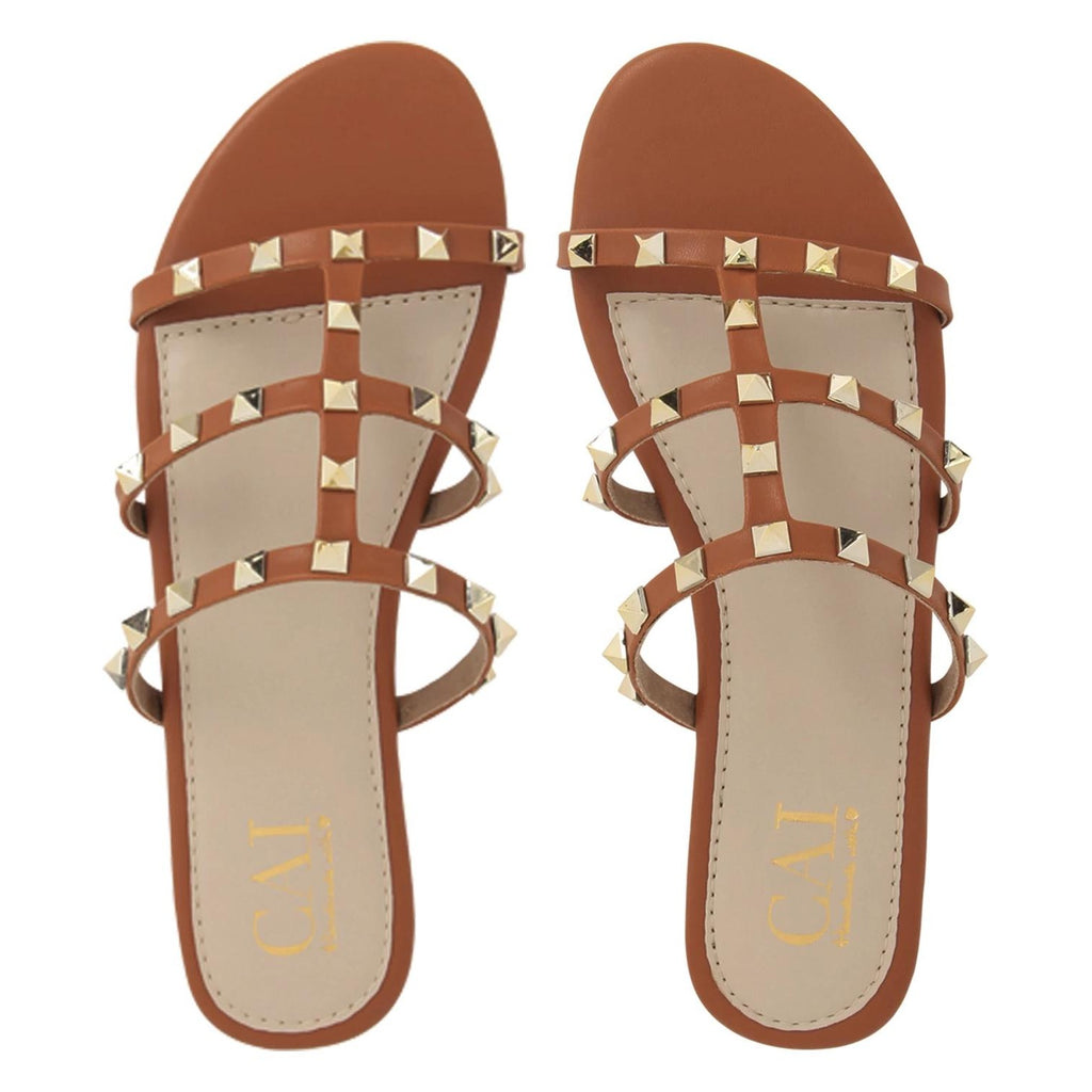 Studded Slide tan