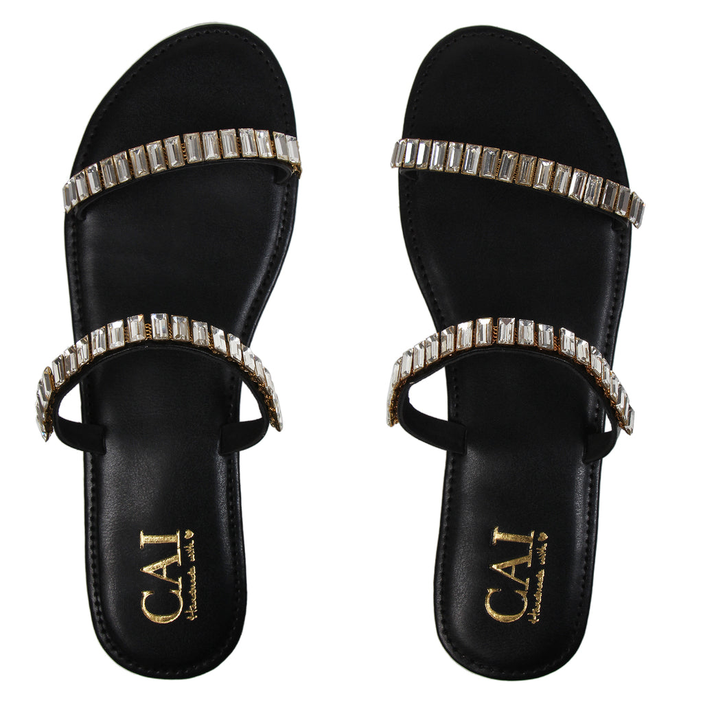 Two Strap Embellished Black