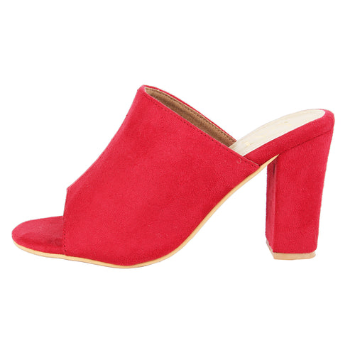 Cherry Red Muled Heels