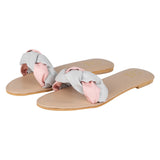 Braided Pink and Grey Slides