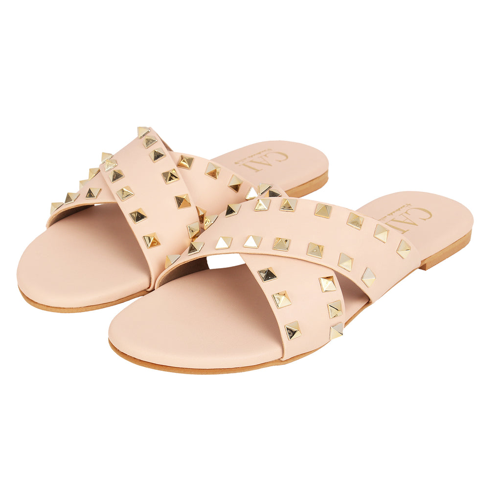 Cross Strap studded - Peach
