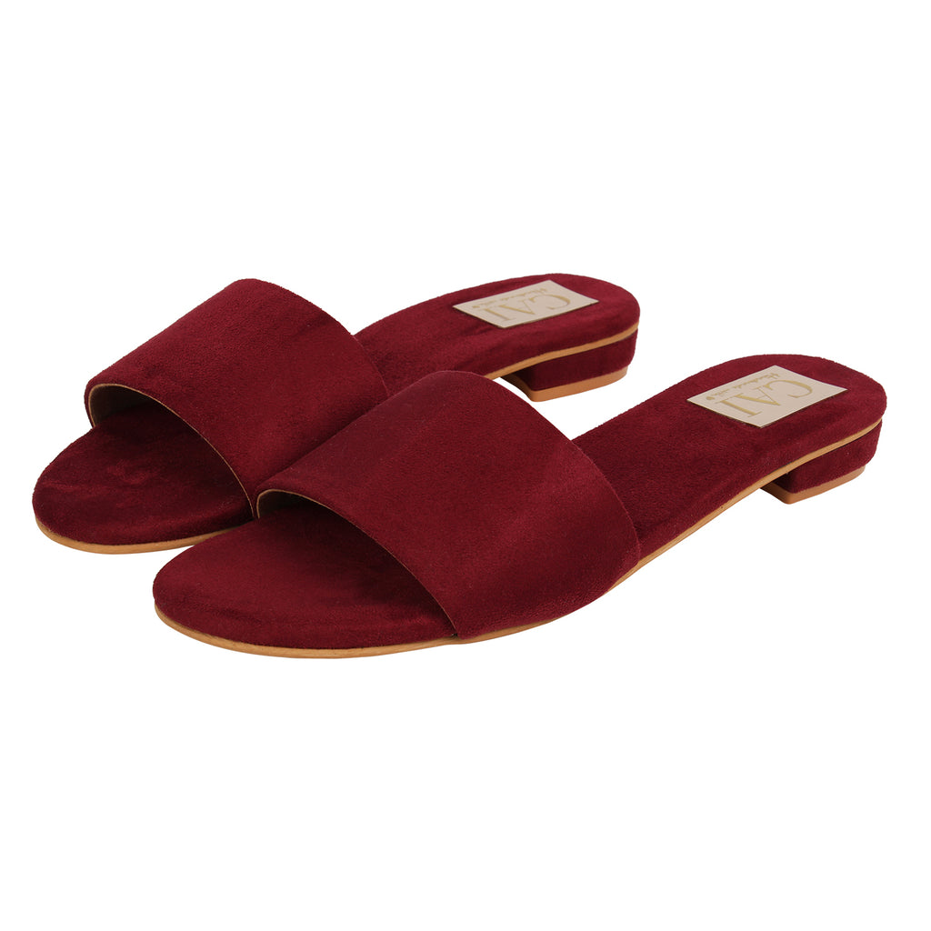Maroon Heeled Slide