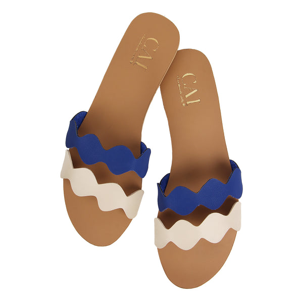 Two tone Twin wave  - Navy/Nude