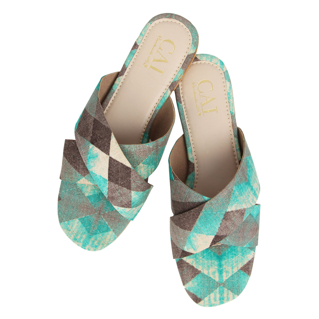 Green Patterned Cross Strap