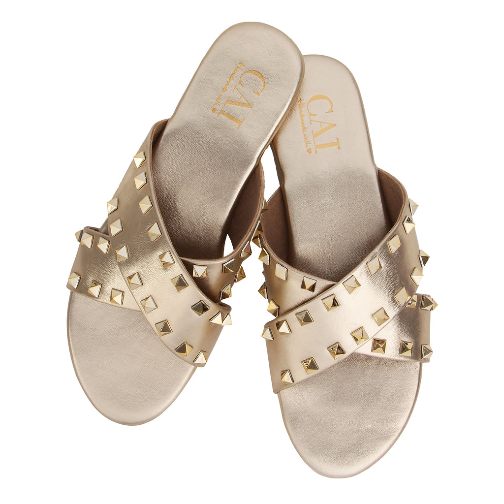 Cross Strap studded - Gold